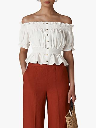 Whistles Shar Bardot Top, Ivory