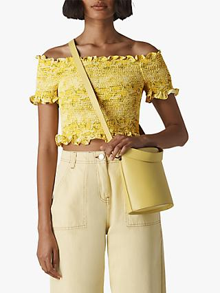 Whistles Python Print Smocked Bardot Top, Yellow/Multi
