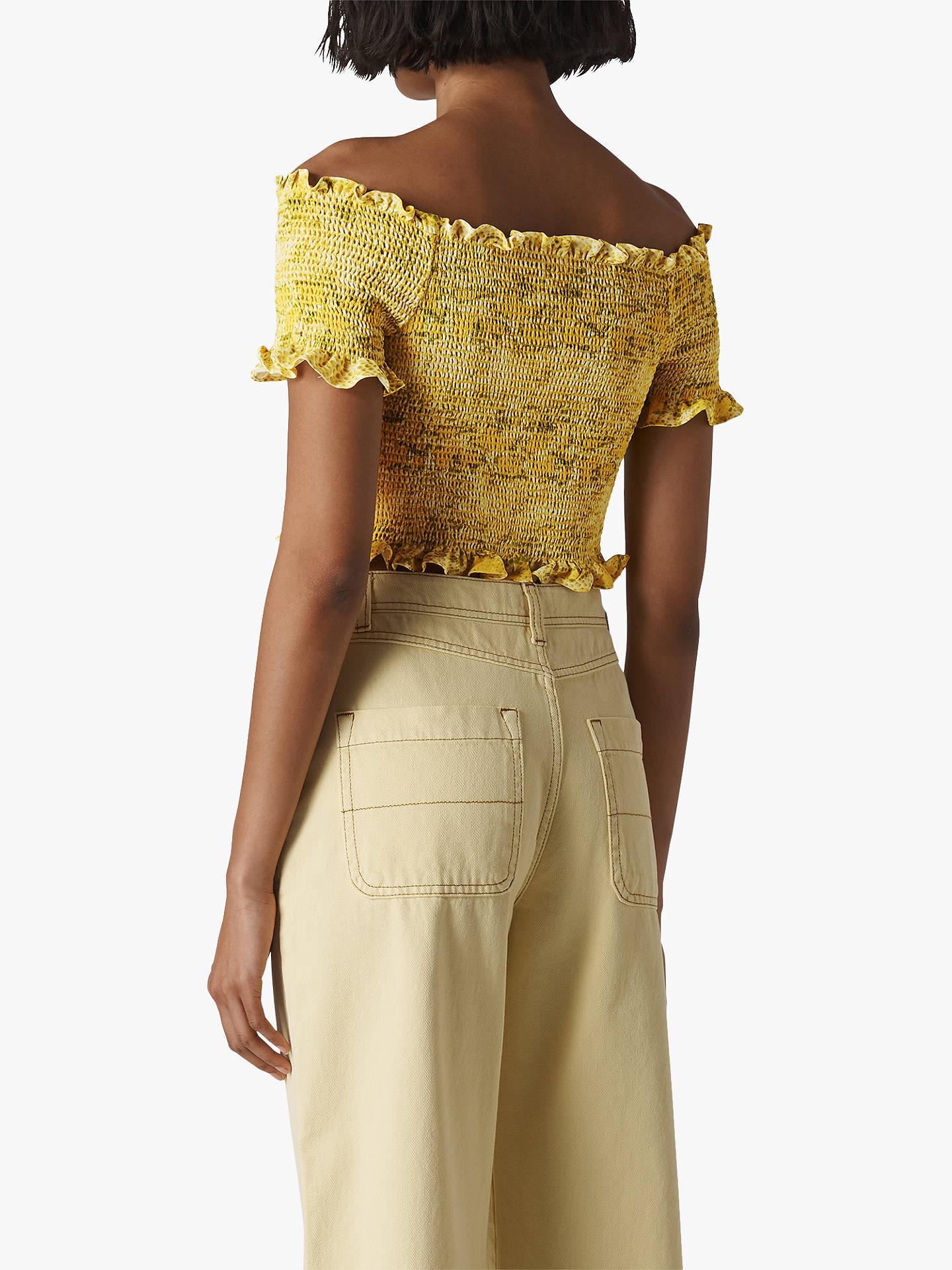 974302369c8 ... Buy Whistles Python Print Smocked Bardot Top, Yellow/Multi, 6 Online at  johnlewis ...