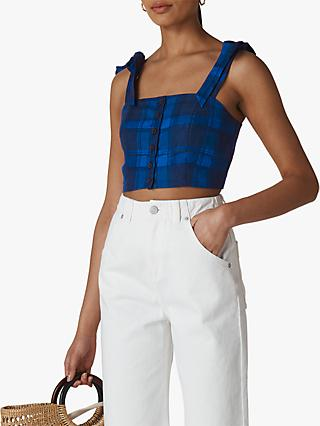 Whistles Check Tie Linen Crop Top, Blue Multi