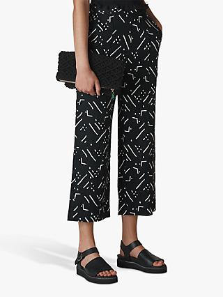 Whistles Kuba Print Linen Trousers, Black