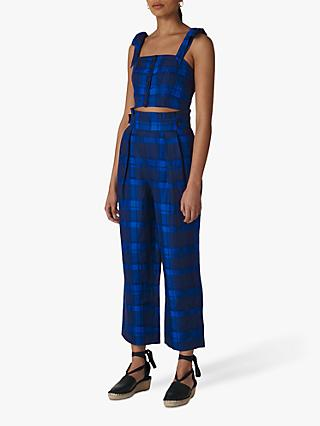 Whistles Check Pleated Trousers, Blue