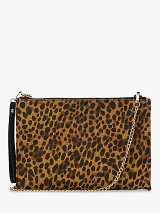 Whistles Hampton Chain Leopard Print Bag, Brown/Multi