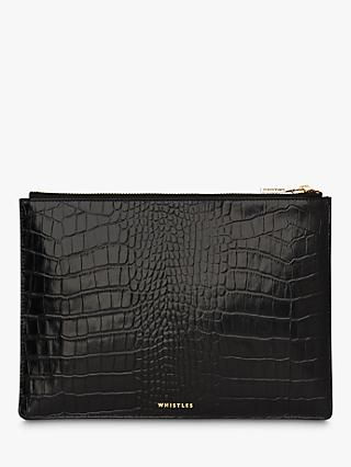 Whistles Shiny Croc Zip Leather Purse