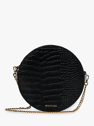 Whistles Brixton Circular Croc Embossed Clutch Bag, Black