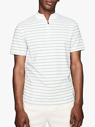 Reiss Golden Short Sleeve Stripe Polo Shirt, Apple/Ecru