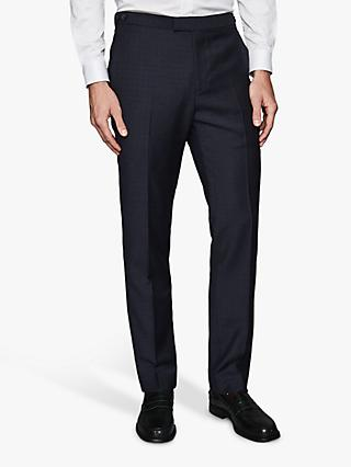 Reiss Muffato Wool Check Modern Fit Suit Trousers, Airforce Blue
