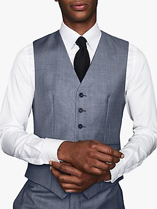 Reiss Friulano Wool Sharkskin Modern Fit Waistcoat, Airforce Blue