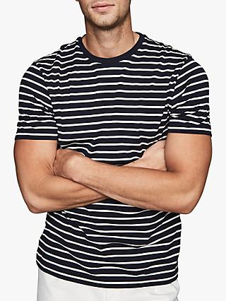 Reiss Holborn Stripe Cotton T-Shirt, Navy/White