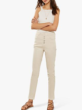 Mint Velvet Joliet Neutral Button Fly Jeans, Neutral