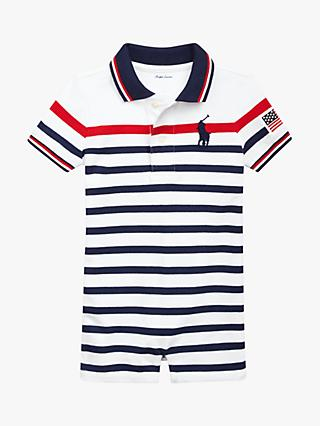 065954a9f984 Polo Ralph Lauren Baby Mesh Stripe Novelty Romper, White