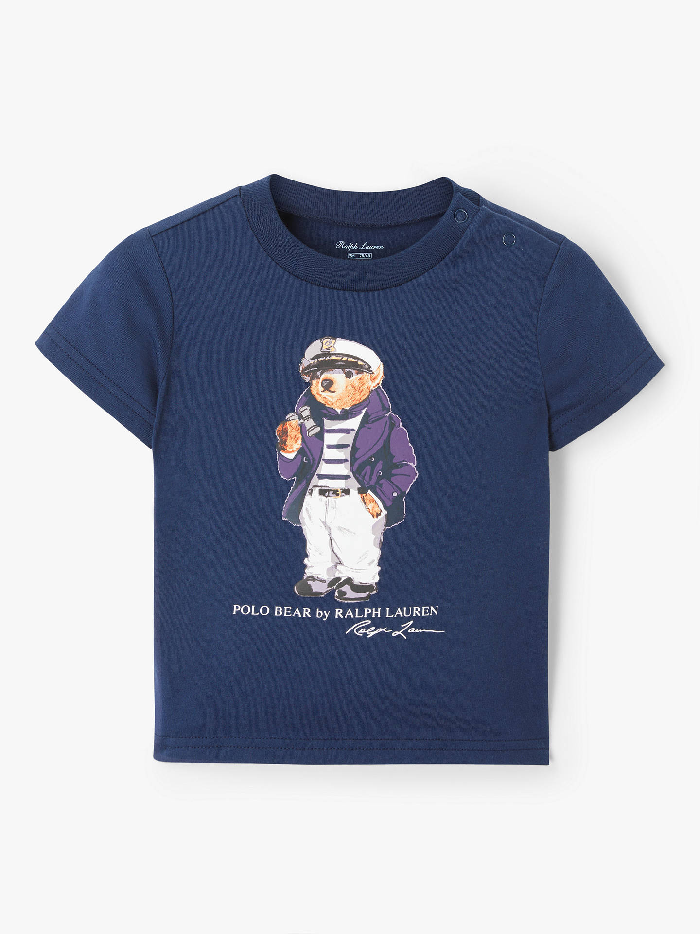 60020109 Buy Polo Ralph Lauren Baby Bear Print T-Shirt, Navy, 3 months Online ...