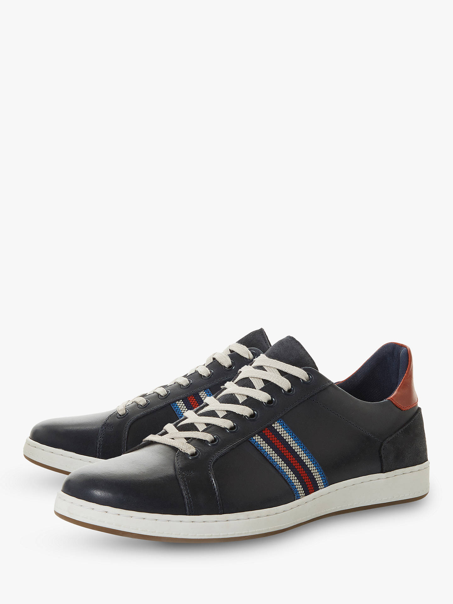 Buy Dune Torontos Leather Trainers, Navy, 9 Online at johnlewis.com