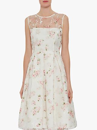 Gina Bacconi Hestia Organza Rose Print Dress, Pink/Multi