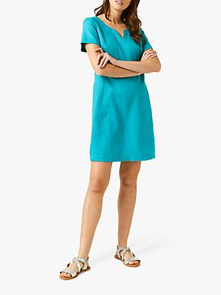 White Stuff Sprig Linen Dress, Jade Green