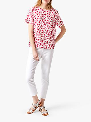 White Stuff Layla Round Neck Linen Top, Pink