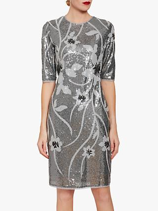 Gina Bacconi Joetta Sequin Dress, Silver