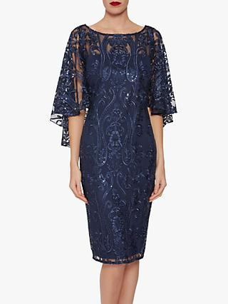 Gina Bacconi Leilani Sequin Cape Sleeve Dress, Navy