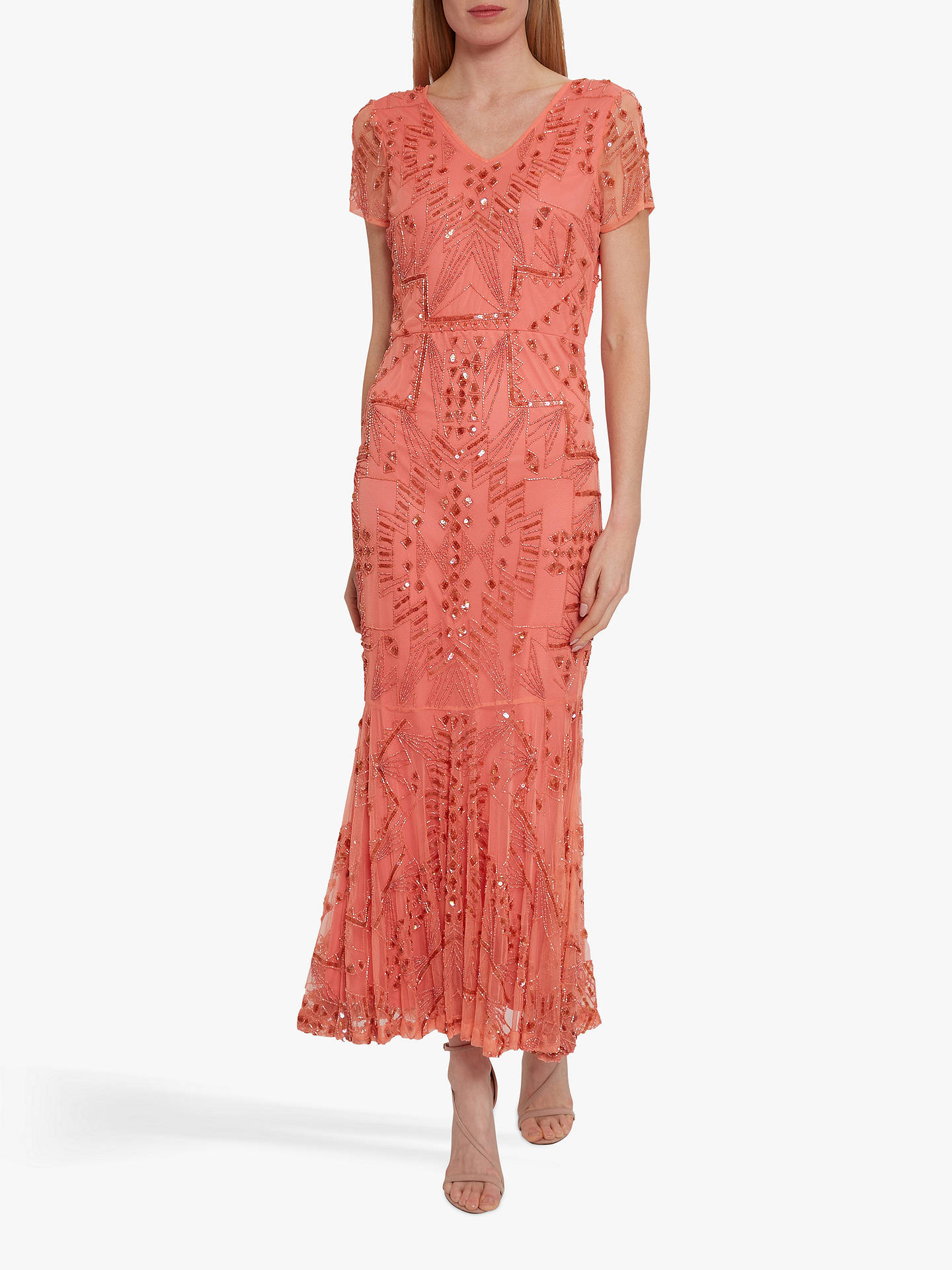 Buy Gina Bacconi Joan Beaded Midi Dress, Dahlia Orange, 10 Online at johnlewis.com