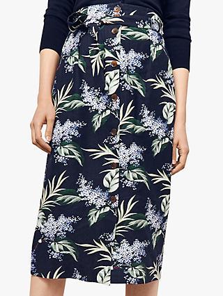 85e67a42cb Oasis Palm Print Linen Blend Skirt, Blue/Multi