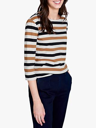 Seasalt Sailor Stripe 3/4 Length Sleeve Jersey Top, Crema Dark Night