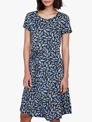 Seasalt Overprinting Jersey Dress, Embroidered Leaves Skipper