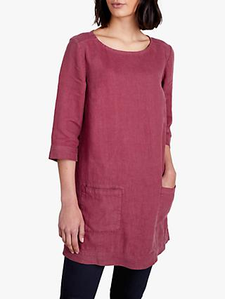 Seasalt Oceanfront Linen Tunic Top, Foxglove