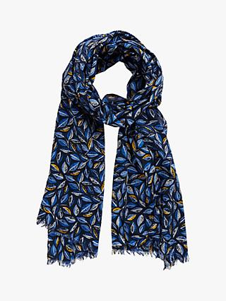Seasalt Everyday Printed Cotton Scarf, Embroidered Leaves Magpie