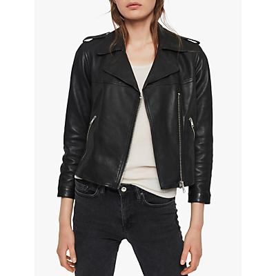 Image of AllSaints Aiden Leather Biker Jacket, Black