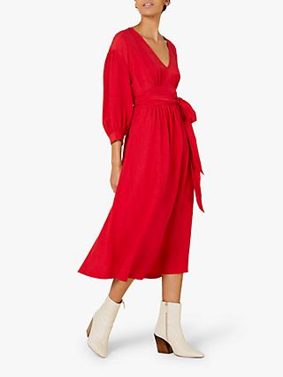 Finery Nadine Tie Waist Dress, Red