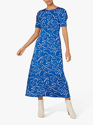 Finery Megan Floral Sketch Midi Dress, Blue