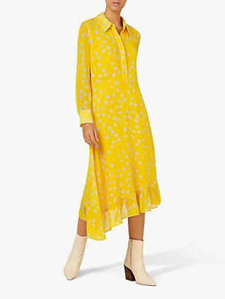 Finery Matilda Floral Asymmetric Frill Hem Shirt Dress, Yellow