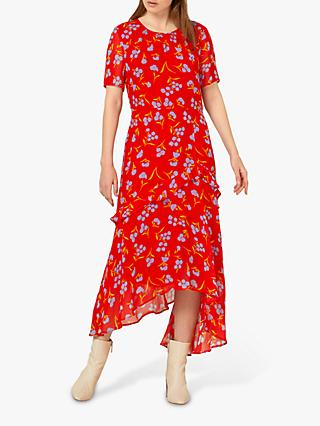 Finery Nicole Floral Ruffle Dress, Red/Multi