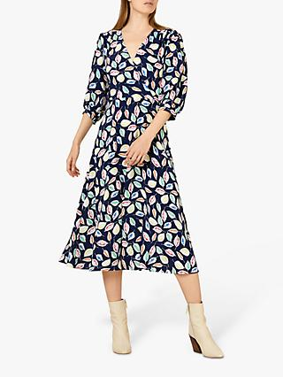 Finery Laura Leaf Print Wrap Dress, Navy/Multi