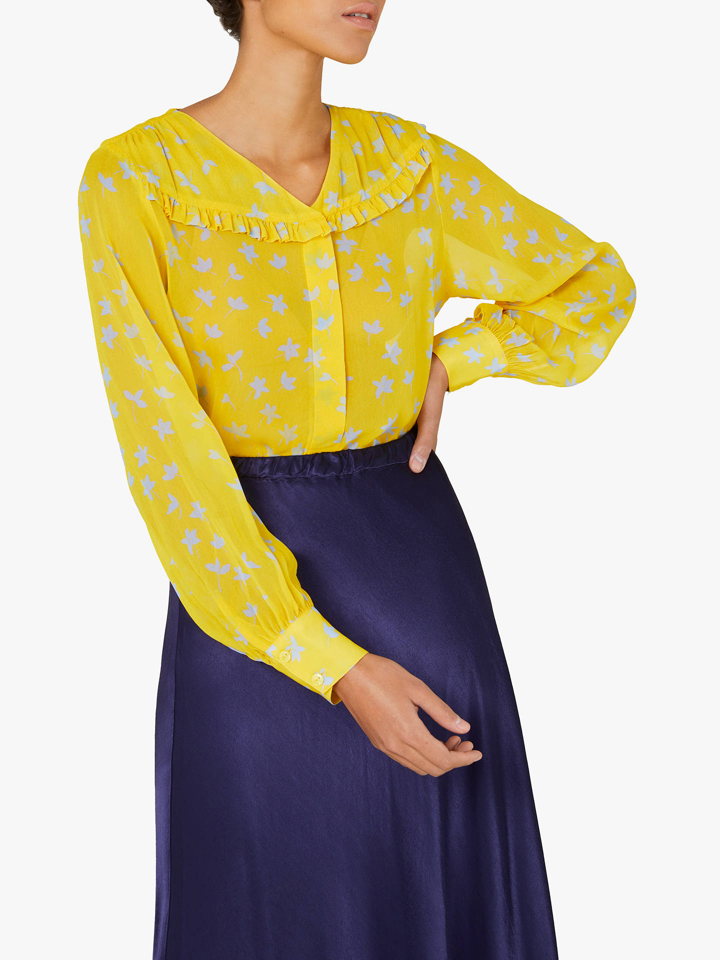 Finery Hayley Floral Frill Shirt, Yellow by Finery