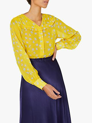Finery Hayley Floral Frill Shirt, Yellow