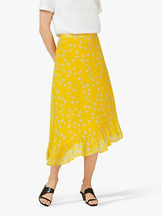 Finery Ebba Floral Frill Hem Skirt, Yellow