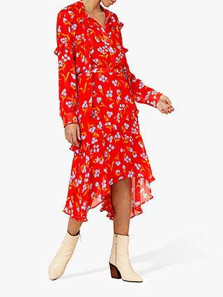 Finery Molly Floral Ruffle Skirt, Red