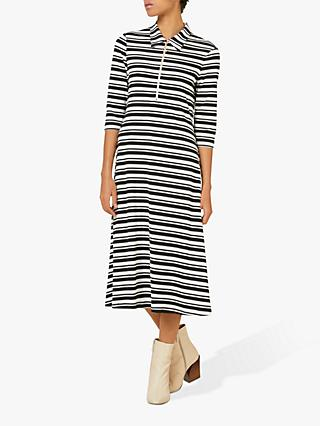 Finery Ella Ribbed Stripe Jersey T-Shirt Dress, Black/White