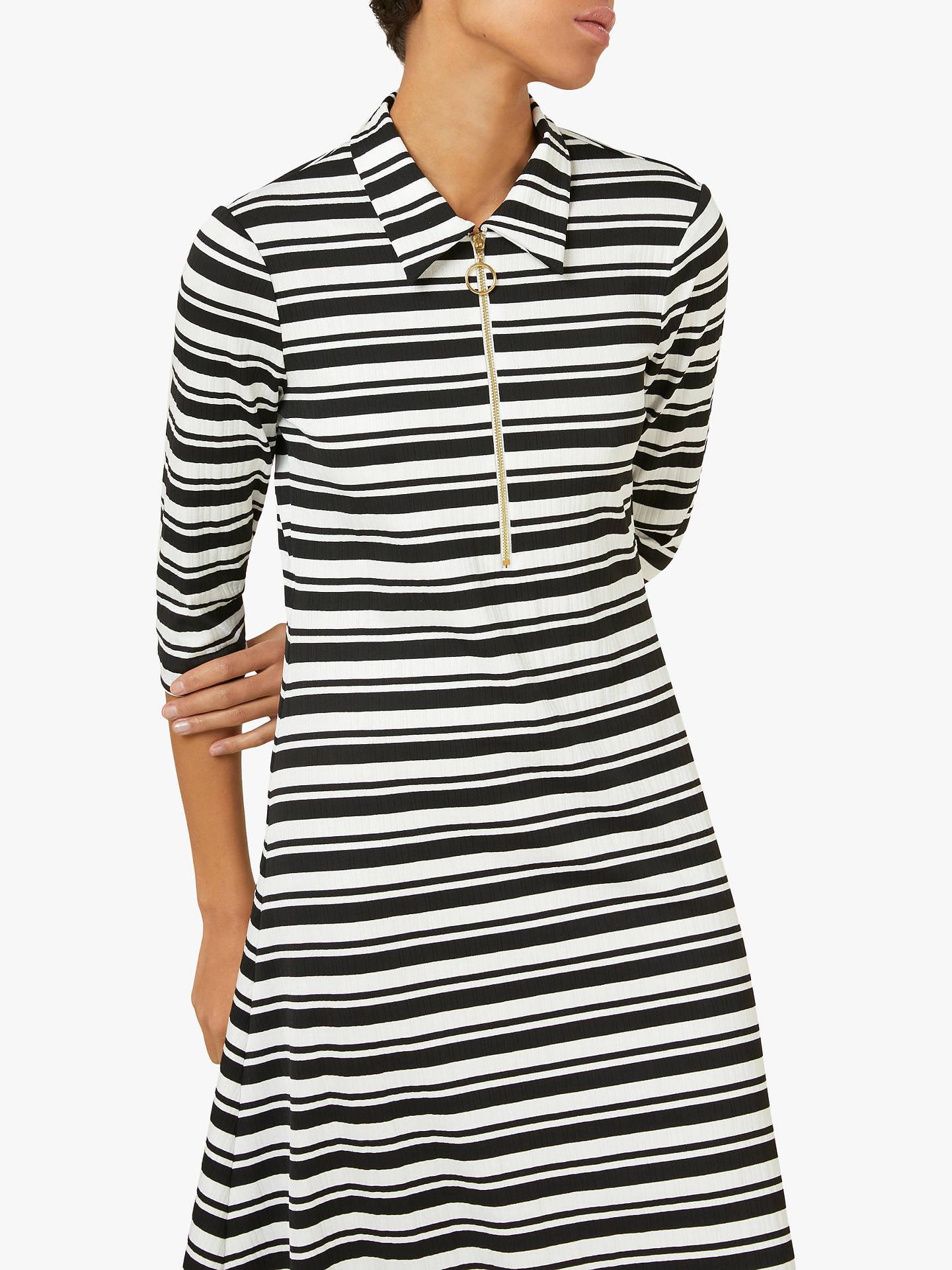 25e36c77bb ... Buy Finery Ella Ribbed Stripe Jersey T-Shirt Dress, Black/White, 8 ...