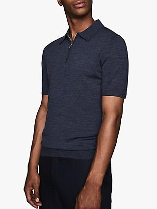 Reiss Maxwell Merino Zip Neck Polo Shirt