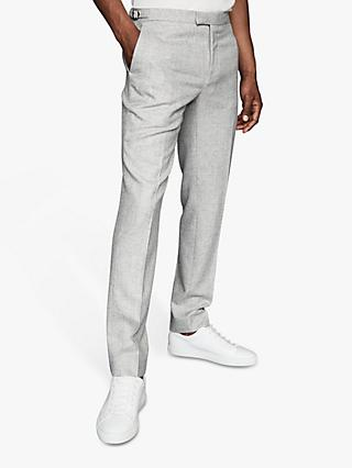 Reiss Dee Wool Linen Blend Slim Fit Trousers, Light Grey