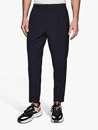 Reiss Tokyo Pleat Front Tapered Linen Trousers, Navy