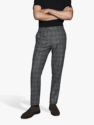 Reiss Brand Prince of Wales Check Slim Fit Trousers, Charcoal