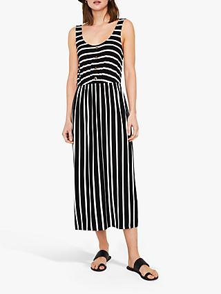 Warehouse Stripe Button Detail Dress, Black/White