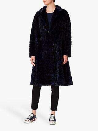 PS Paul Smith Cheetah Faux Fur Coat, Blue