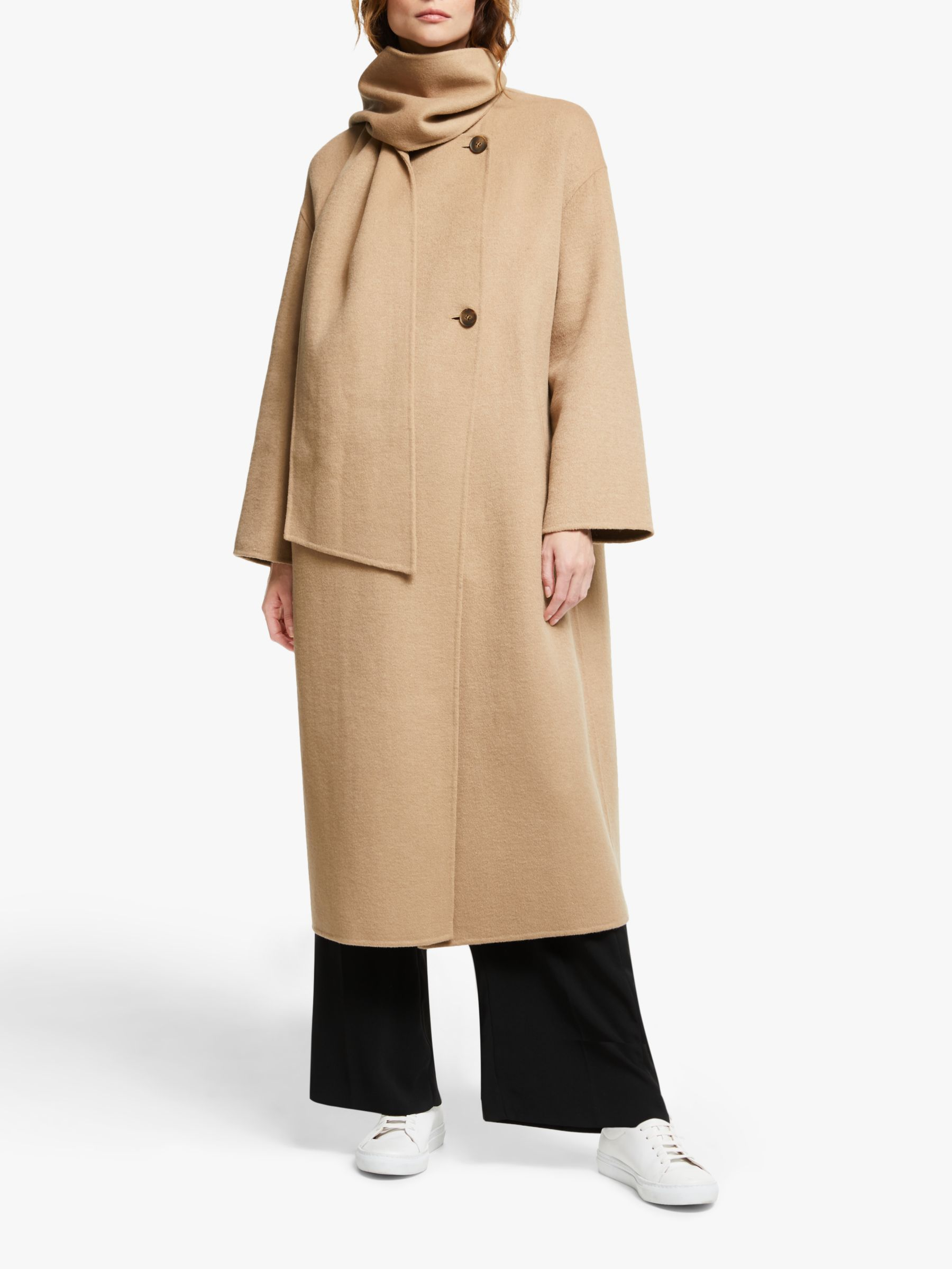 Modern Rarity Modern Rarity Collarless Double Faced Coat, Brown