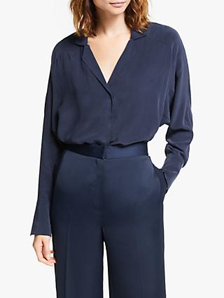 Modern Rarity Raglan Sleeve Silk Shirt, Blue