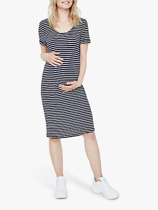 Mamalicious Laluna Geometric Stripe Midi Dress, Peacoat Blue