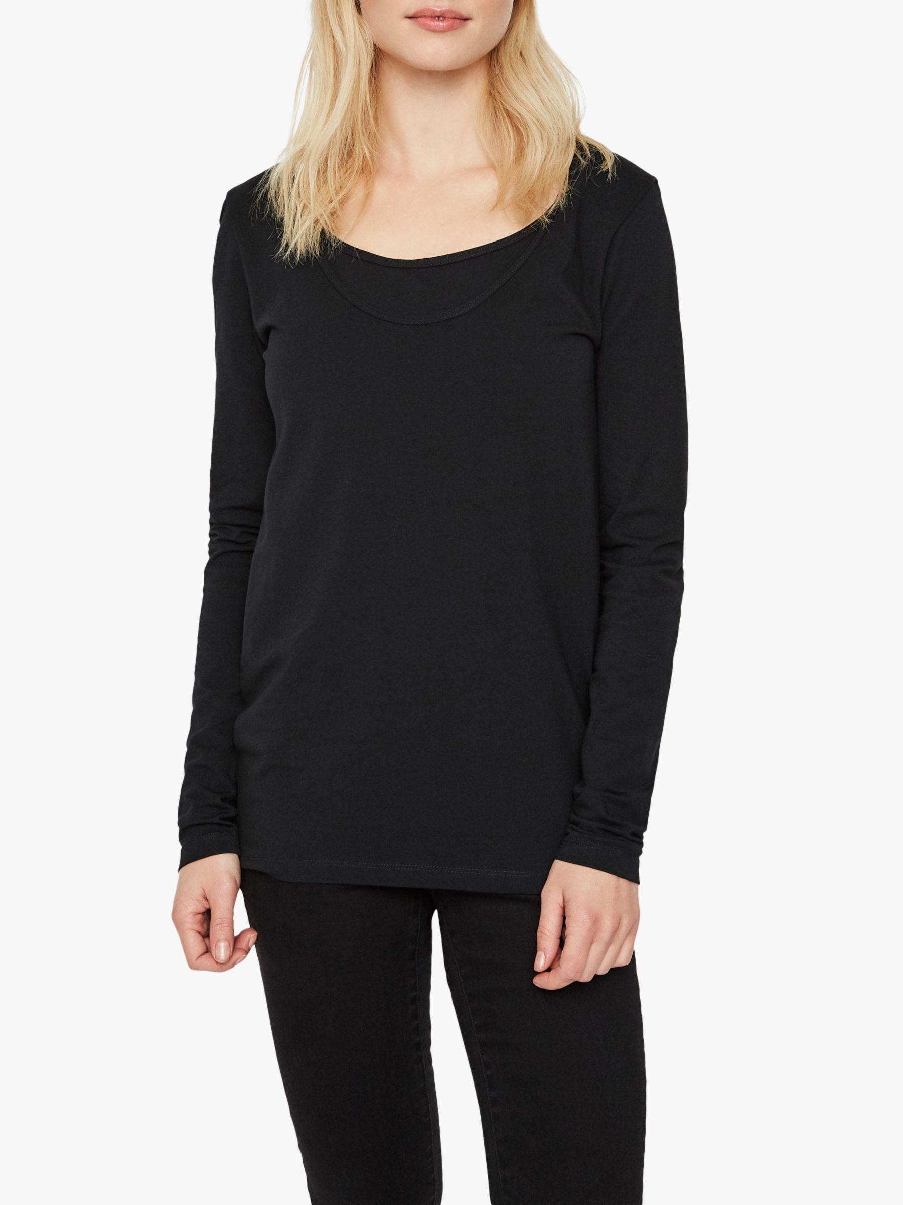 Mamalicious Mamalicious Nell Organic Cotton Long Sleeve Nursing Tops, Pack of 2, Black/Stripe